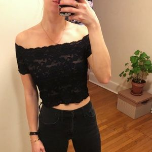 Off the shoulder cropped lace top